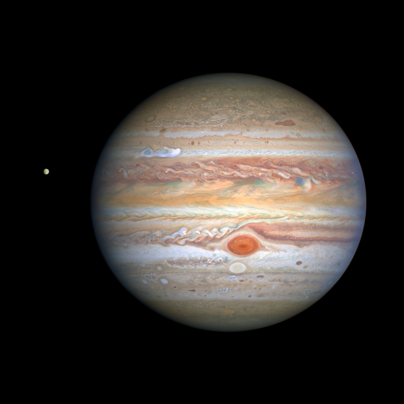 In 2022, ESA will launch a spacecraft called JUICE to explore Jupiter's moons, including Europa (left). Image credit - NASA, ESA, STScI, A. Simon (Goddard Space Flight Center), and M.H. Wong (University of California, Berkeley) and the OPAL team
